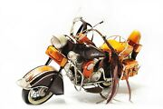 Handmade Yellow Indian Motorcycles 18 Tinplate Antique Style Metal Model