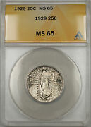 1929 Silver Standing Liberty Quarter Coin 25c Anacs Ms-65 Light Toning 11