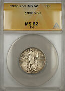 1930 Silver Standing Liberty Quarter 25c Anacs Ms-62 Full Head Light Toning 11