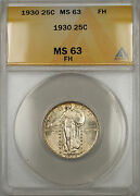 1930 Silver Standing Liberty Quarter Coin 25c Anacs Ms-63 Full Head 11