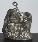 Antique German Anton Reiche Tin Chocolate Mold Little Red And Wolf