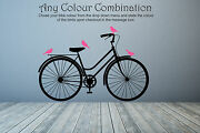 Vintage Bicycle Bike Classic Birds Wall Decal Sticker Art. Any Colour Combo Size
