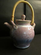 Teapot American Studio Art Pottery Tested by Fire Violet Glazes Texas unique