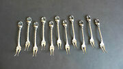 Gorgeous Set/11 Rare Antique Sterling Silver 3 Cherry Forks