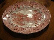 Red Pink Romantic England J And G Meakin Oval Serving Platter Red Back Stamp Bv7