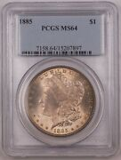 1885 Us Morgan Silver Dollar Coin 1 Pcgs Ms-64 Toned Br4 A