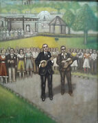 Musicians In Central Park Nyc Scene O/c Signed Arnold Plancher Ny 1889-1971