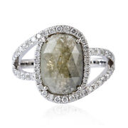 18kt Solid White Gold 3.08ct Ice Diamond Oval Shape Ring Women Fashion Jewelry