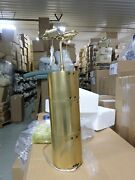 Pottery Barn Williams Sonoma Riveted Metal Table Lamp Base Brass Light Cylinder
