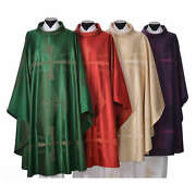 Chasuble In Wool And Silk Jacquard Fabric
