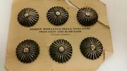 Vintage Rare Navajo Hand Stamped Sterling Silver Buttons In A Set Of 6