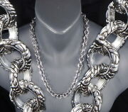 114g 20 Tribal Dragon Snake Rings Mens Necklace Chain 925 Sterling Silver Pre