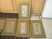 Set Of 4 Asian Embroidery Doily Doilies Framed No Glass 14 X 21 - 9-1/2 X 16