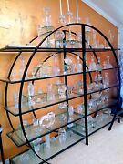 Vintaqe Glass And Metal Frame Etagere - Shelf Display Case