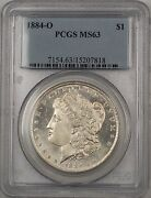 1884-o Morgan Silver Dollar 1 Pcgs Ms-63 Better Coin Proof Like Br-16 N