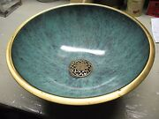 Oppenheim Footed Bowl Brass Enamel Ware Made In Israel Vg Condition