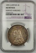 1890 Great Britain Silver 4s Double Florin Coin Ngc Au Details Surface Hairlines