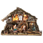 Nativity Village Stable With Waterfall And Fire Pit 78x110x66cm