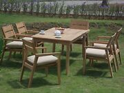 Vellore A-grade Teak Wood 7pc Dining 71 Rectangle Table 6 Stacking Arm Chair Set