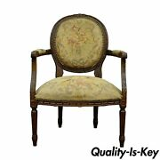 Antique 19th Century French Louis Xvi Style Needlepoint Fireside Arm Chair B
