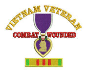 Purple Heart Vietnam Veteran Combat Wounded Service Ribbon Embroidered Shirt