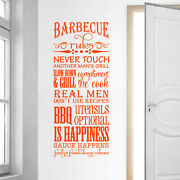 Barbecue Rules Slow Down And Grill Compliment The Cook Vinyl Wall Decal Quote L179
