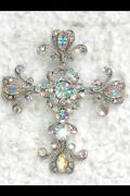 Lot Of 25 Gorgeous Ab Crystal Cross Crucifix Pin