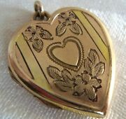 Vintage Pretty Sterling Vermeil Etched Heart Locket Pendant For Necklace Nice