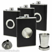 4 8 Oz Stainless Steel Flask Leather Wrapped Ss Funnel And Shot Glass Built In
