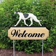 Greyhound Wood Welcome Outdoor Sign Blue/white