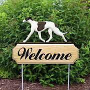 Greyhound Wood Welcome Outdoor Sign Brindle/white