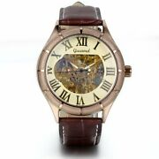 Classic Menand039s Gold Dial Skeleton Brown Leather Mechanical Sport Army Wrist Watch