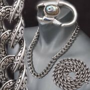 24315g Huge Heavy Tribal Curb 925 Sterling Silver Mens Biker Necklace Chain Pre