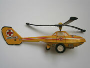 Vintage Old Friction Tin Toy Aircraft Helicopter Ambulance 1970and039s