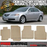 Fits 04-08 Acura Tl Floor Mats Carpet Front And Rear Beige 4pc - Nylon