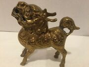 6 Chinese Brass Dragon Kylin Statue Foo Dog With Removable Head - See Pictures