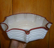 1900's Antique Old Art Hand-blown Lampshade Made White/red Glass Lamp Shade