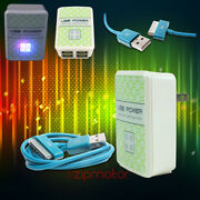 100 Lot 4 Usb Port Wall Adapter+3ft Cable Charger Sync Aqua For Iphone Ipod Ipad