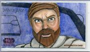 Obi-wan Topps Star Wars Clone Wars Widevision Sketch By David Day Only 50 Made