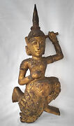 Antique 19th C. Tibetan Carved Wooden Gilt Decorated Buddha Statue