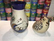 Vintage Mexican Signed Tonala Pottery Vase Sailfish Butterfly Cobalt And Bird
