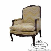 Quality French Louis Xv Style Walnut Frame Bergere Chair