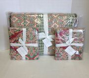 Pottery Barn Harlow Bed Quilt Comforter Cal King Red Floral Paisley 2 King Shams