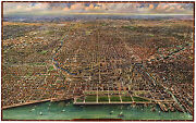 Chicago Illinois 1916 Vintage Map Rolled Giclee Canvas Art Print 36x24 In.