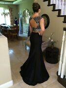 640 Nwt Black Two Piece Jovani Prom/pageant/formal Dress/gown 25621 Size 0