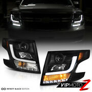 Fit 2015-20 Chevy Tahoe Suburban Oled Neon Tube Black Led Projector Headlights