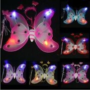 Mulitcolor Lighted Butterfly Wing Wand And Headband Set For Girls / Adults