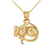 Polished 14k Yellow Gold Street Rat Mouse Rattus Murinae Pygmy Charm Necklace