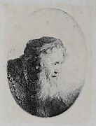 Ferdinand Bol Dutch 1616-1680 Etching And Drypoint Man In Profile