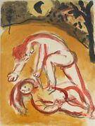 Marc Chagall Russian French 1887-1985 Colored Lithograph Cain And Abel Verve